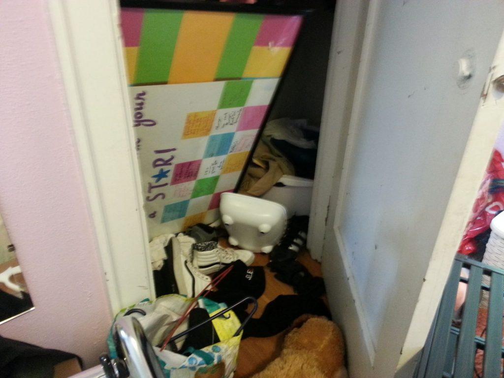 very messy closet