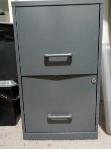 gun-metal grey file cabinet